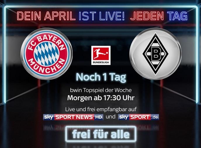 Morgen auf Sky Bayern München vs. Gladbach kostenlos in HD – auch ohne Abo oder im Livestream