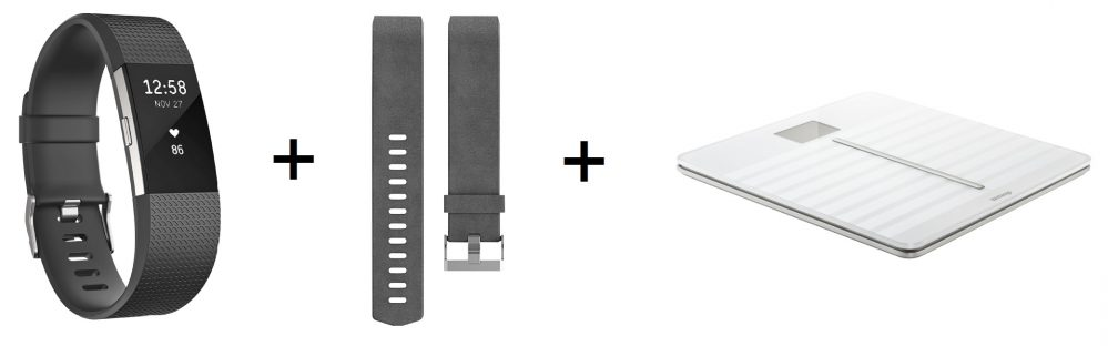 FITBIT Charge 2 Small/Large Activity Tracker + Lederarmband + WITHINGS WBS 04 Body Cardio Waage für nur 244,- Euro + 50,- Euro Saturn Gutschein