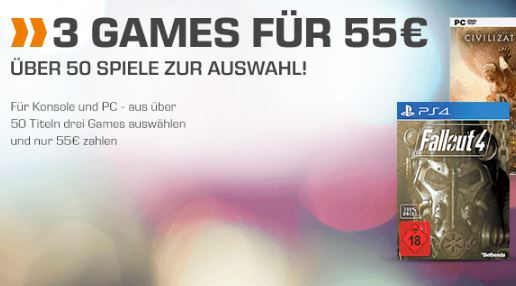 """""""3 für 55,- Euro"""" Games-Aktion – mit z.B. Fallout 4, Resident Evil 6, Metal Gear Solid 5, Watch Dogs uvm."""