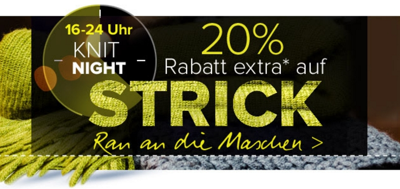 Nur heute: 20% Extrarabatt auf Strick bei Dress-for-Less!