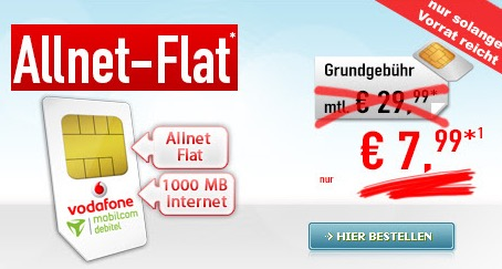 vodafone allnet flat mit 1gb internet flat nur 7 99 euro. Black Bedroom Furniture Sets. Home Design Ideas