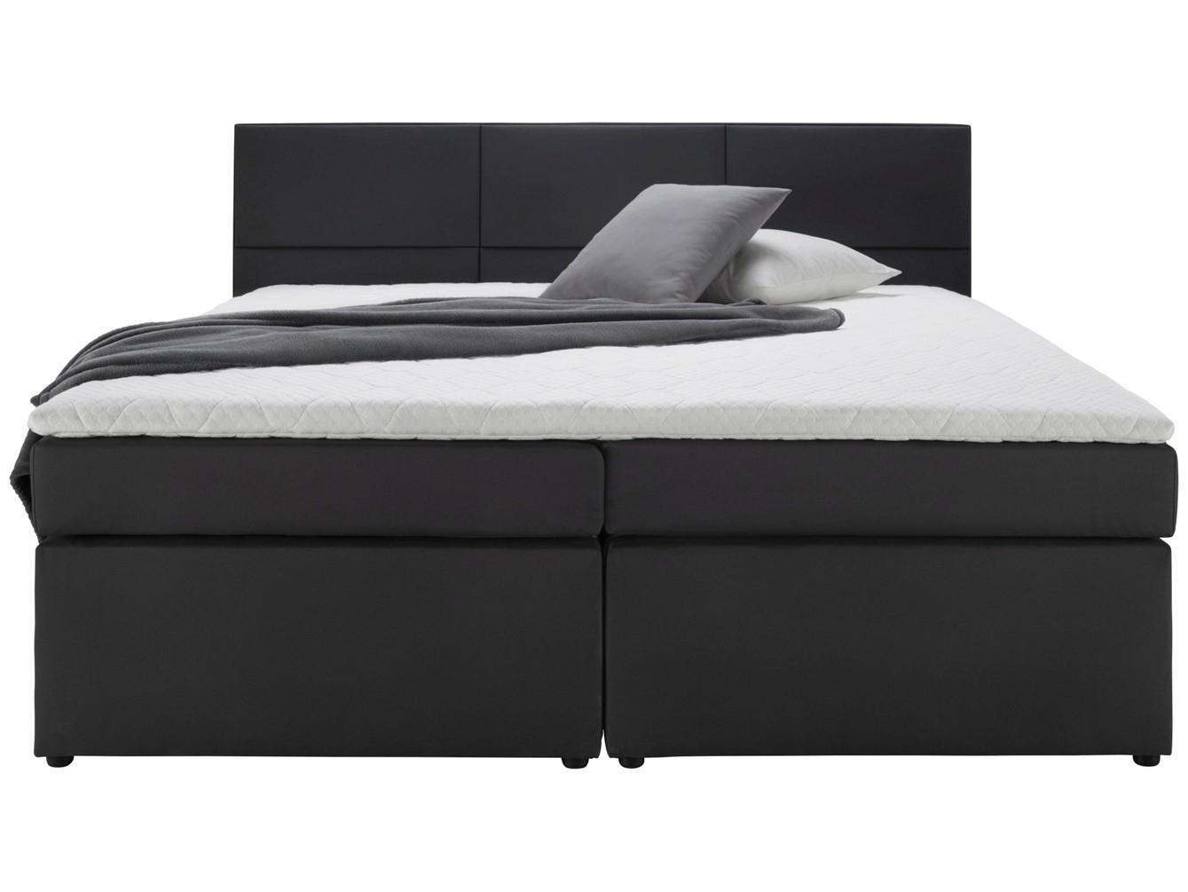 boxspringbett schwarz 180x200cm inkl matratze mit bonellfederkern und topper schon ab 257. Black Bedroom Furniture Sets. Home Design Ideas