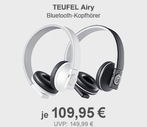 Teufel AIRY Bluetooth-Kopfhörer in weiss oder anthrazit je nur 109,95,- Euro