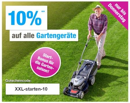 Nur heute: 10% Gutscheincode auf alle Gartengeräte bei GartenXXL