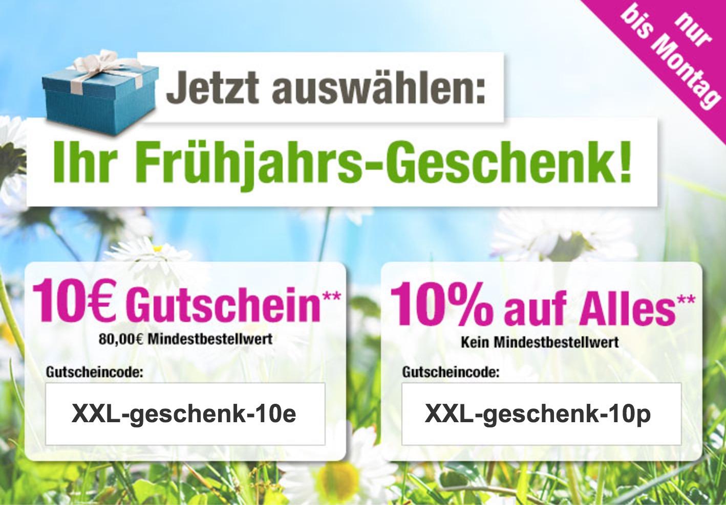10% oder 10,- Euro Gutscheincode auf das gesamte Sortiment bei GartenXXL