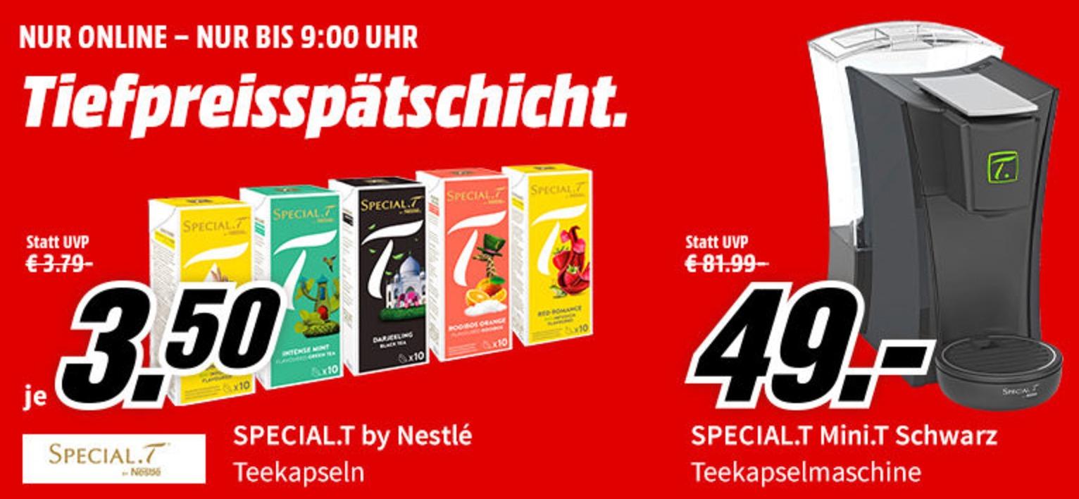 Nur bis 9:00 Uhr: Tiefpreisspätschicht bei Media Markt mit vielen Teeprodukten von Special.T