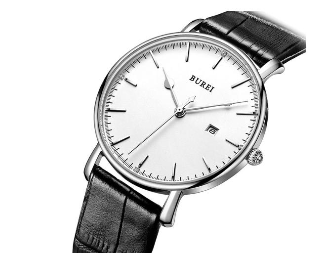 BUREI Herren Armbanduhr (30m wasserdicht) mit Lederarmband für nur 16,91 Euro