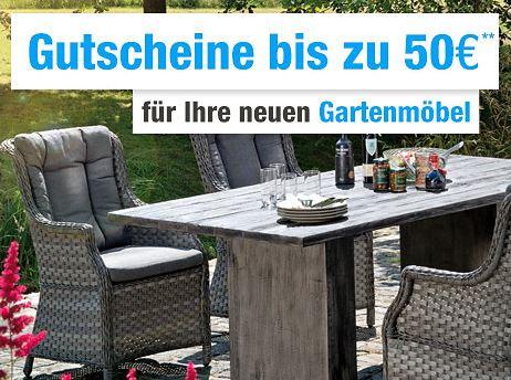 Bis zu 50,- Euro Rabatt auf das gesamte Gartenmöbel-Sortiment bei GartenXXL
