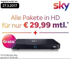 Endet heute Abend! Sky HD Komplett mit Entertain, Cinema, Sport und Bundesliga + Sky UHD-Receiver 1TB nur 29,99€ monatlich