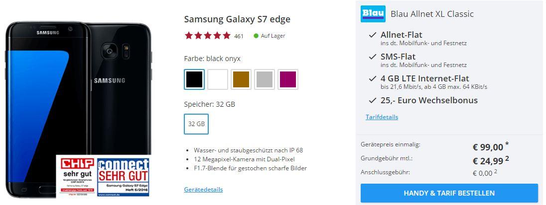 Blau Allnet XL Tarif (4 GB LTE, Allnet Flat) für nur 24,99 Euro mtl. + Samsung Galaxy S7 Edge für einmalig 99,- Zuzahlung
