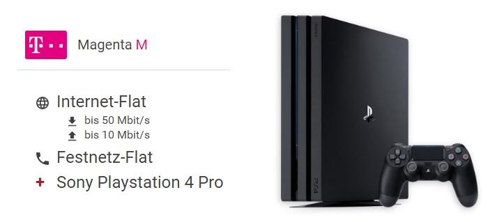Telekom Magenta Zuhause M mit bis zu 50 Mbit/s & Festnetzflat für nur eff. mtl. 33,15 Euro + PS4 Pro 1TB gratis