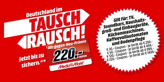 Letzter Tag! Mediamarkt: Bis zu 220,- Euro geschenkt beim Kauf von TVs, Soundbars, Haushaltsgroßgeräte, Küchenmaschinen usw.