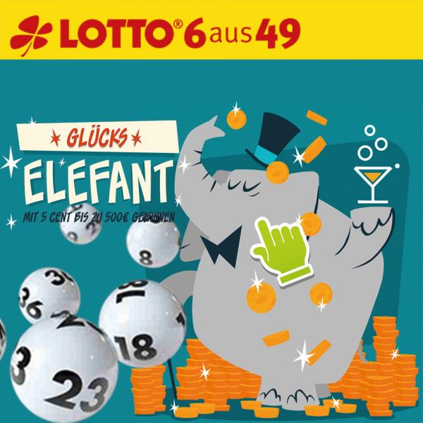 """Eine Reihe Lotto 6aus49 für Mittwoch & Samstag + 30 Rubbellose """"Elefant"""" nur 50 Cent (nur Neukunden)"""