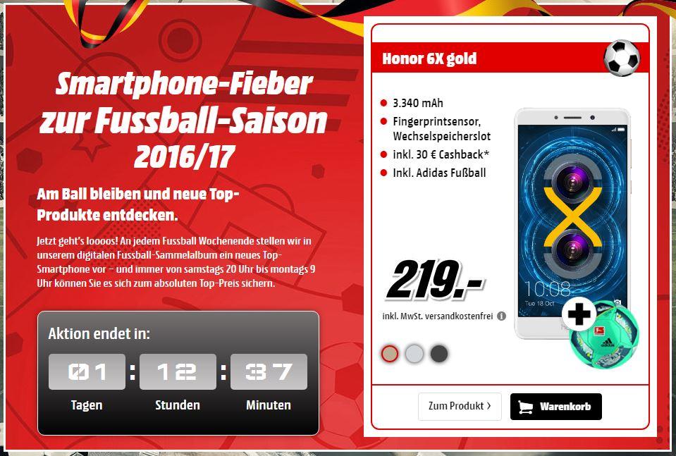 Huawei Honor 6X Smartphone mit 32 GB + Adidas Fußball für nur 189,- Euro inkl. Versand dank Cashback