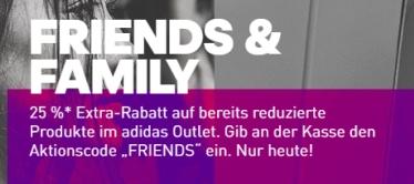 Nur heute! Adidas Family & Friends Sale mit 25% Gutscheincode – auch auf bereits reduzierte Artikel