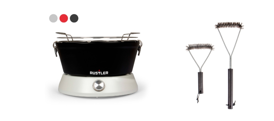 rustler holzkohle tischgrill mit l fter inkl 2er set. Black Bedroom Furniture Sets. Home Design Ideas