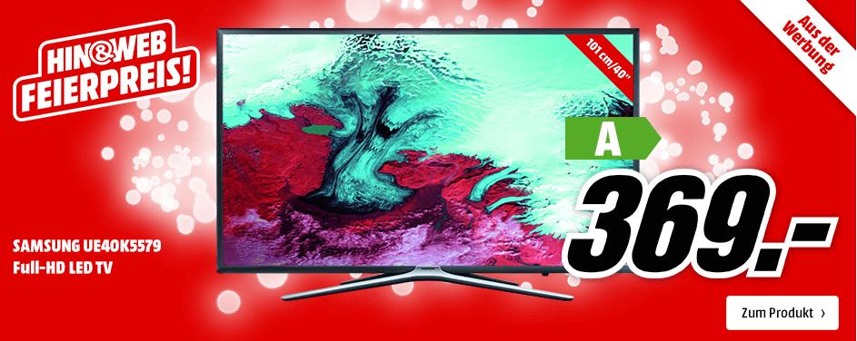 Hin&Web! MediaMarkt Feierpreis-Aktion mit dem SAMSUNG UE40K5579 40″ TV für 369,- Euro und viele weitere Artikel