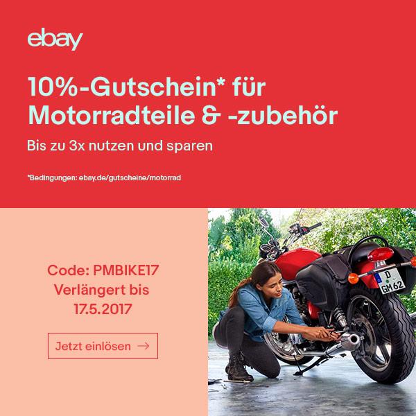 nur noch heute 10 paypal gutschein f r motorradteile motorradzubeh r bei ebay. Black Bedroom Furniture Sets. Home Design Ideas