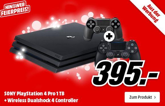 SONY PlayStation 4 Pro 1TB + 2. Controller für nur 395,- Euro inkl. Versand