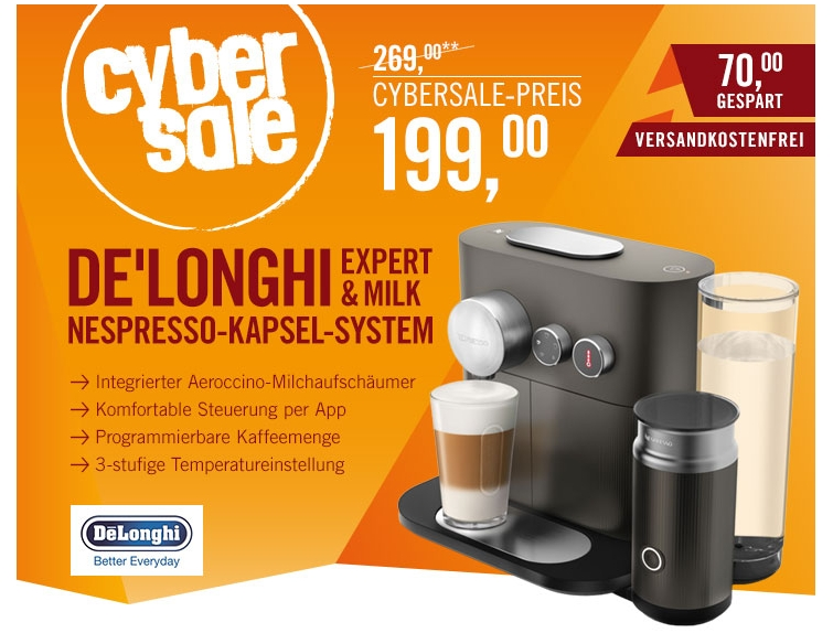 delonghi en 355 gae expert milk nespresso system f r 199 euro im cybersale. Black Bedroom Furniture Sets. Home Design Ideas