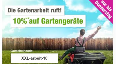 Nur 2 Tage: 10% Gutscheincode auf Gartengeräte bei GartenXXL