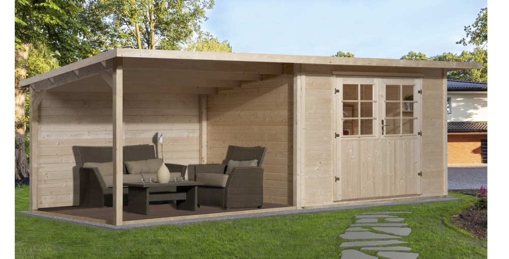weka holz gartenhaus como 295 cm x 300 cm mit gro er lounge f r 1533 95 euro inkl versand. Black Bedroom Furniture Sets. Home Design Ideas