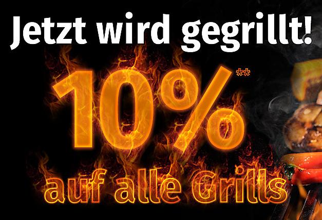 Nur bis morgen: 10% Rabatt auf Grills und Grillzubehör im GartenXXL Onlineshop