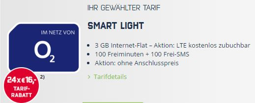 o2 smart light tarif 3gb lte 100 minuten 100 sms f r nur 8 99 euro mtl. Black Bedroom Furniture Sets. Home Design Ideas