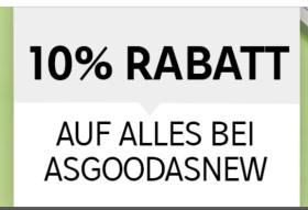 10% Rabatt auf alle Artikel im asgoodasnew Rakuten-Shop!