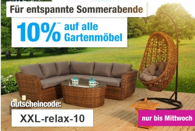 Nur noch heute: 10 % Gutschein auf alle Möbel bei GartenXXL