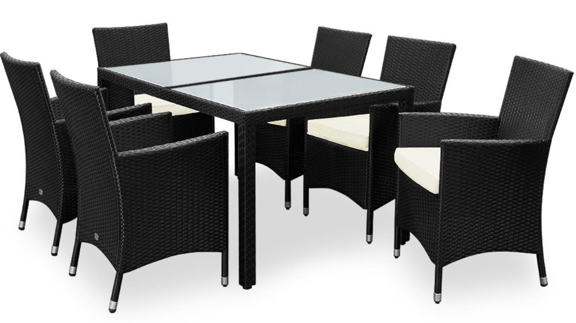 alu poly rattan garten sitzgruppe 1 tisch 6 st hle f r. Black Bedroom Furniture Sets. Home Design Ideas