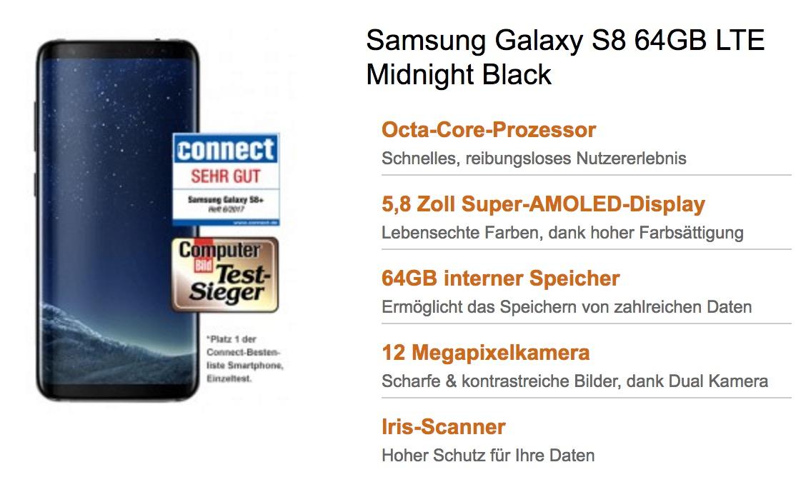 Vodafone Comfort Allnet 2GB nur 29,99 Euro mntl. + Galaxy S8 oder S8 Plus ab 29,- einmalig