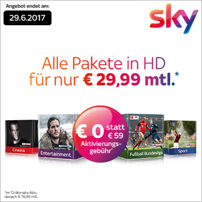 Offiziell beendet, geht aber noch! Sky HD Komplett mit HD + Festplattenreceiver nur 29,99 Euro monatlich