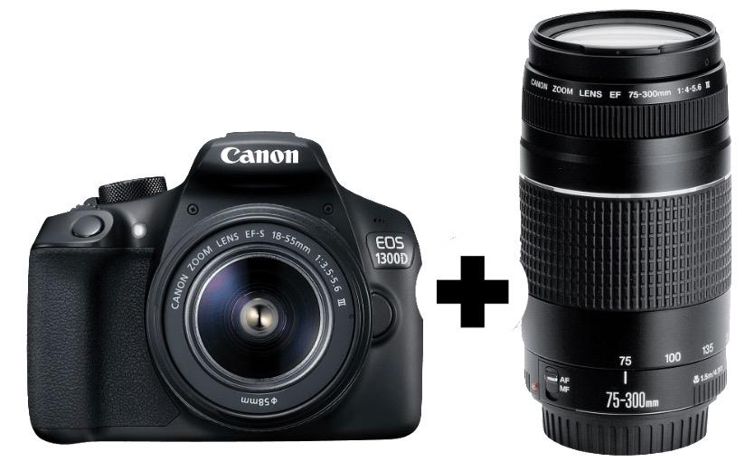 Canon EOS 1300D (18 Megapixel,WLAN) und Objektive 18-55mm und 75-300mm nur 399,- Euro(Vergleich 519,-)