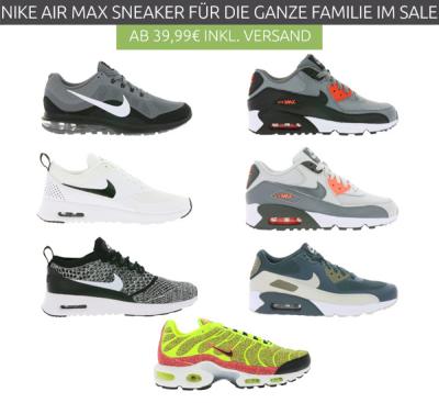 Viele verschiedene Nike Air Max Modelle für Damen, Herren
