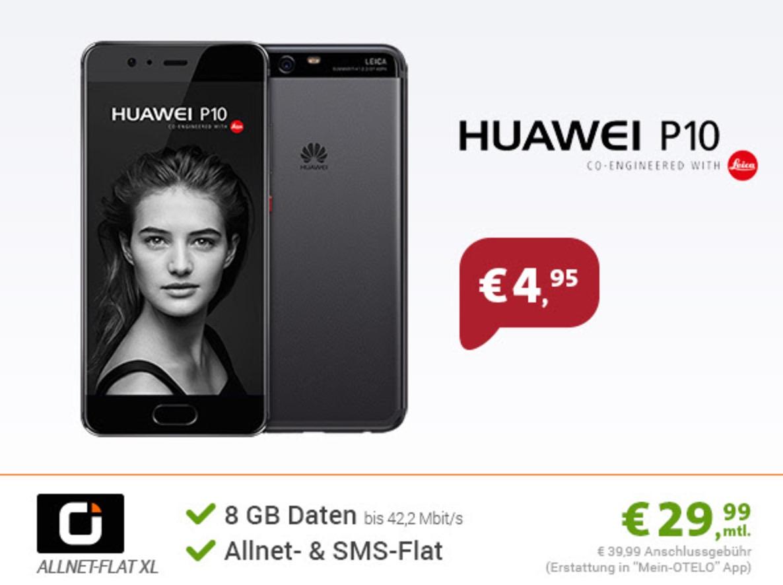 OTELO Allnet Flat XL+ mit Allnet- & SMS-Flat + 8GB Daten für nur mtl. 29,99 Euro + Huawei P10 für nur einmalig 4,95 Euro