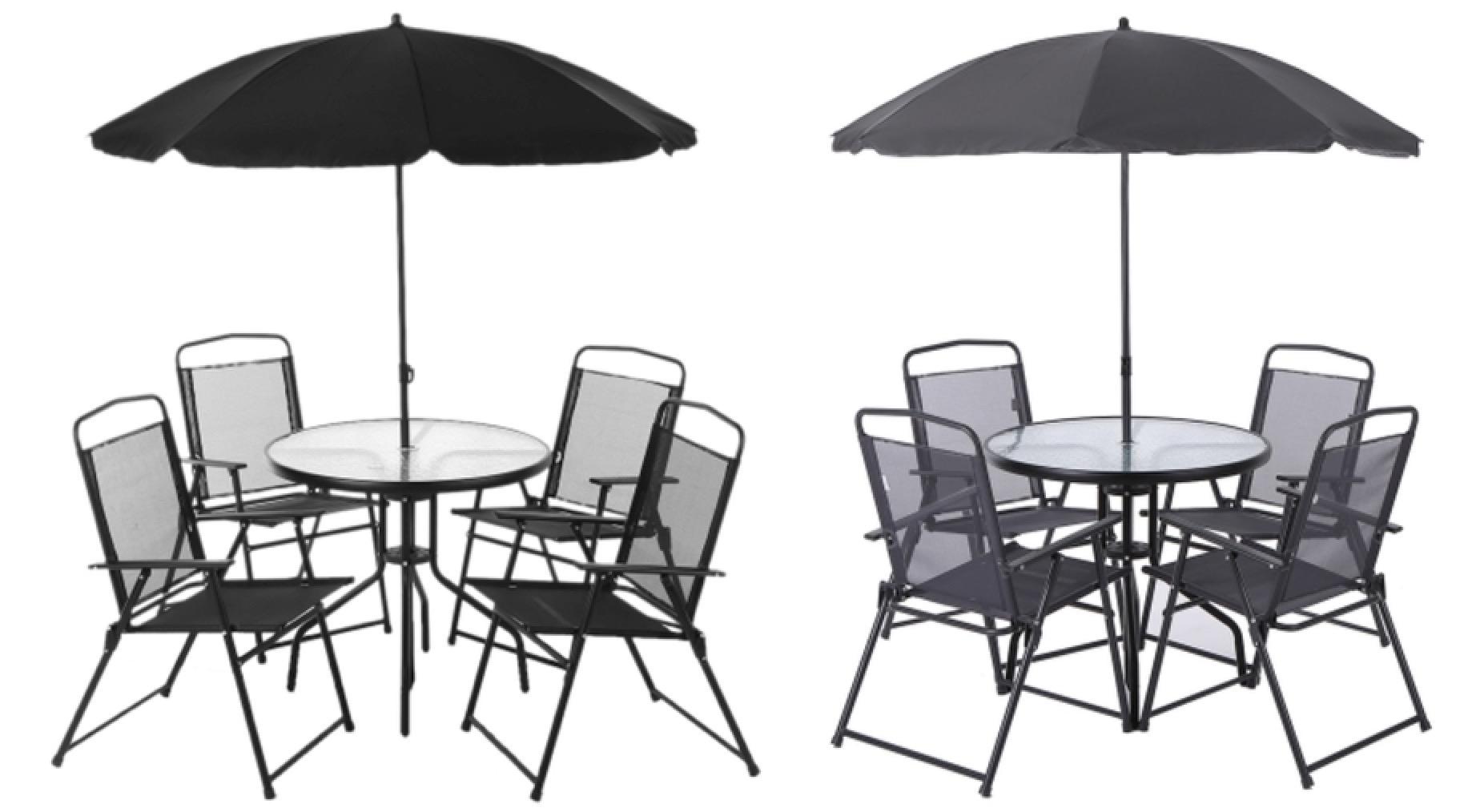 6-teiliges iKayaa Gartenmöbel-Set (Tisch, 4 Stühle, Sonnenschirm ...