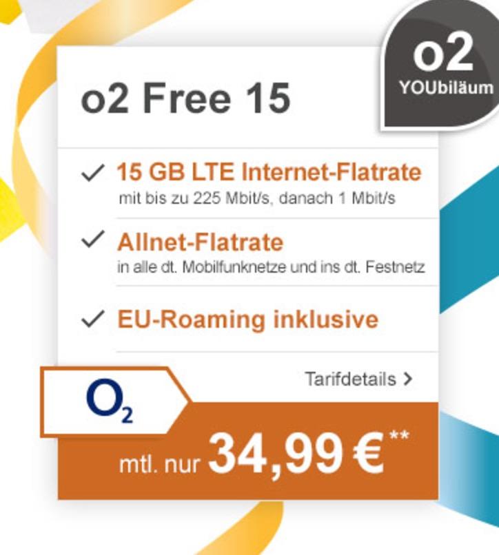 O2 Free 15 Tarif mit Allnet- und SMS-Flat sowie 15GB LTE (danach 1 MBit) mtl. 34,99 Euro + Samsung Galaxy S8 für nur einmalig 1,- Euro