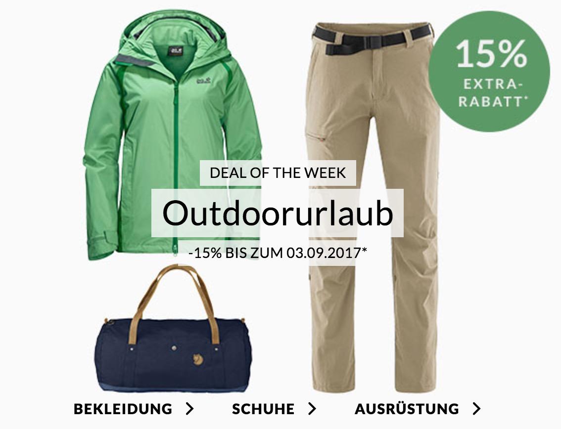Engelhorn Sports Weekly Deal mit 15% Rabatt auf ausgewählte Outdoormode und -accessoires