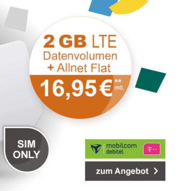 mobilcom-debitel Telekom Magenta Mobil S mit Allnet- und SMS-Flat + 2GB Daten (Friends mit 4GB) für nurm 16,95 Euro