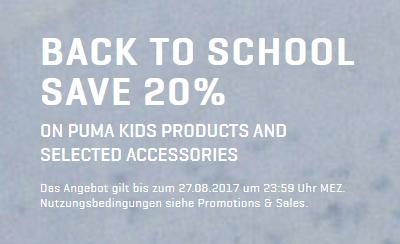Puma Back to School-Aktion mit 20% Rabatt auf viele ausgewählte Artikel