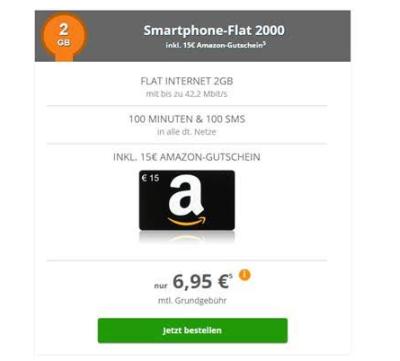 Klarmobil Smart-Flat 2000 (Vodafone) mit 2GB Daten + 100 Minuten + 100 SMS mtl. 6,95 Euro und 15,- Euro Amazon Gutschein geschenkt!