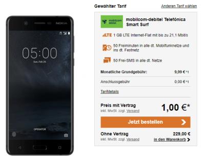 Mobilcom-debitel Telefónica Smart Surf Tarif mit 50 Min, 50 SMS und 1GB für mtl. 9,99 Euro – dazu das neue Nokia 5 16GB für einmalig 1,- Euro