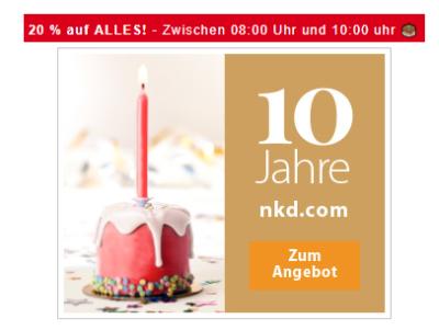 Nur heute von 8:00-10:00 Uhr: 20% auf Alles im NKD Onlineshop!