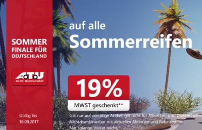 Ab heute bei A.T.U  19% Mehrwertsteuer geschenkt beim Kauf vielen Artikeln wie Dachboxen oder Sommerreifen