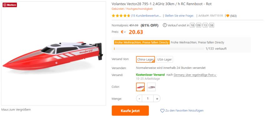 Volantex RC Boot