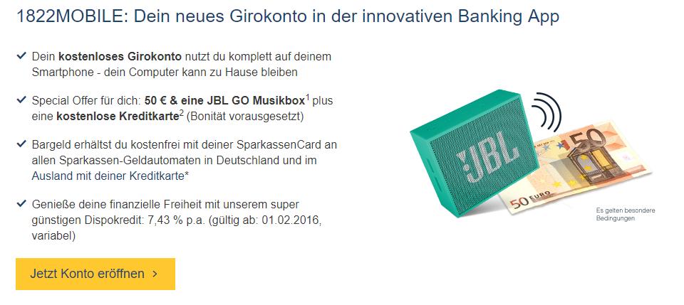1822mobile Girokonto mit Startguthaben und Gratis JBL Lautsprecher