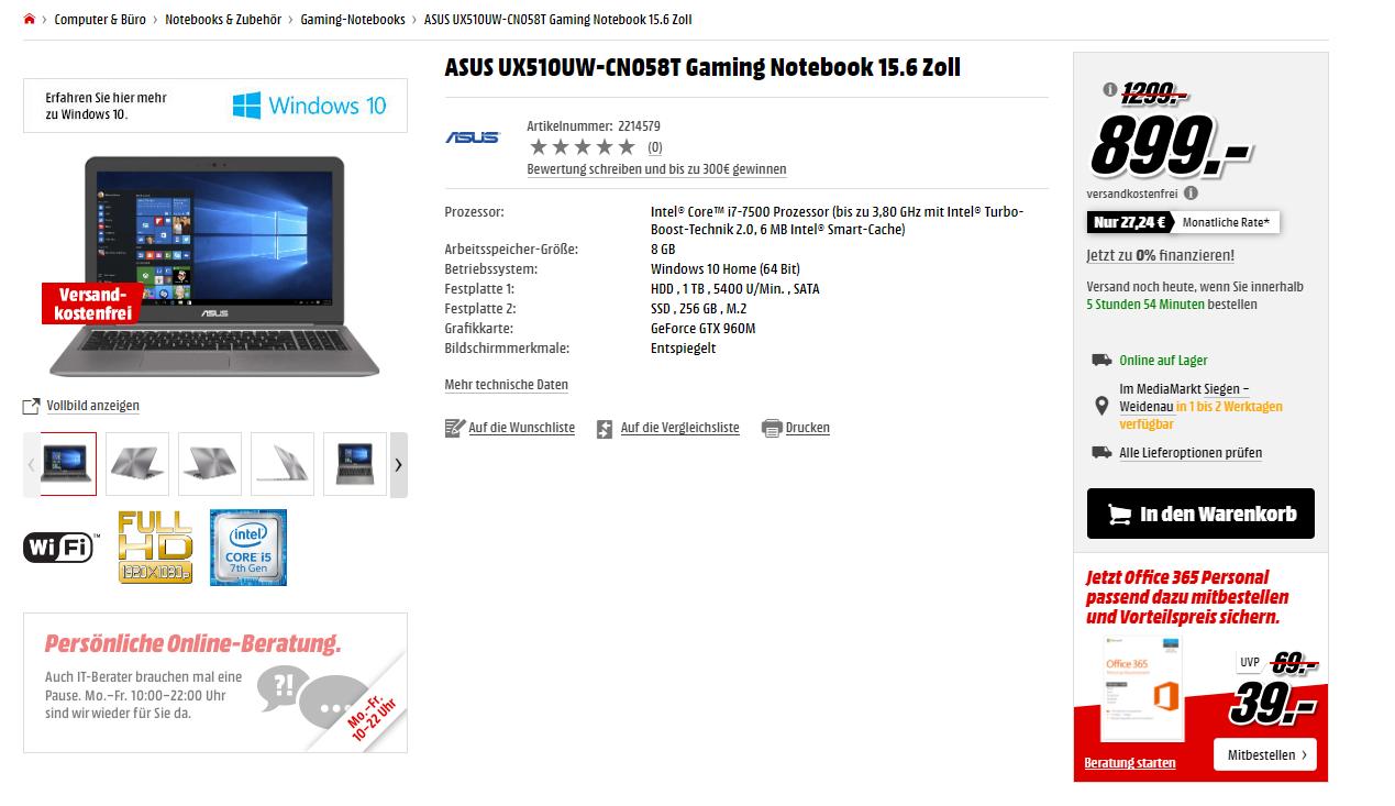 Asus Notebook für 899 Euro