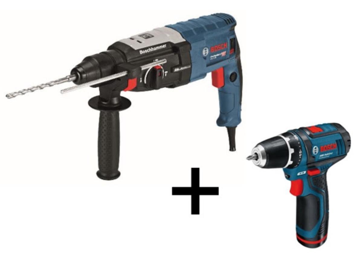 Bosch Professional Bohrhammer SDS-plus GBH 2-28 F + Akku-Bohrschrauber GSR 10,8-2-LI für nur 203,88 Euro
