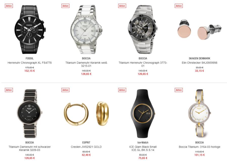 Uhren und Schmuck Beispiele bei Galeria Kaufhof